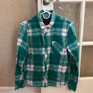 Teal Plaid Button-Up Shirt